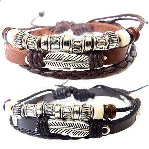Jewelry - Braided Leather Bracelet - Wooden Beads and Alloy